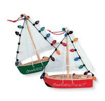 Wood Ornament - Sailboat with Lights
