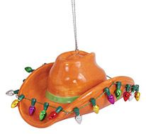 Ceramic Ornament - Cowboy Hat with Lights