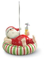 Ceramic Ornament - Santa Inner Tube