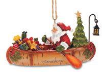 Resin Ornament - Santa in Birch Canoe