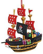 Resin Ornament - Black Pirate Ship