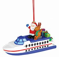 Resin Ornament - Ferry Boat with Santa & Reindeer