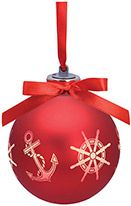 Light-up Frosted Glass Ball Ornament - Anchor