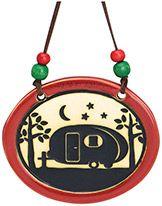 Pottery Disk Ornament - Camper