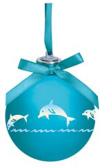 Light-up Frosted Glass Ball Ornament - Dolphin