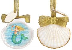 Resin Ornament -Scallop Shell Painting - Mermaid