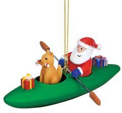 Resin Ornament - Dog in Kayak with Santa