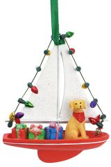 Resin Ornament -Dog in Sailboat with Lights