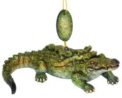 Glossy Resin Ornament - Gator with Babies