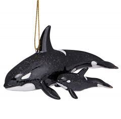 Glossy Resin Ornament - Orca with Baby
