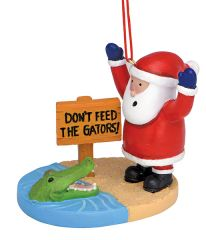 Resin Ornament - Don't Feed The Gators Santa
