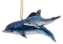 Glossy Resin Ornament - Dolphin with Baby