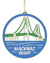Laser Cut Wood Ornament - Mackinac Bridge